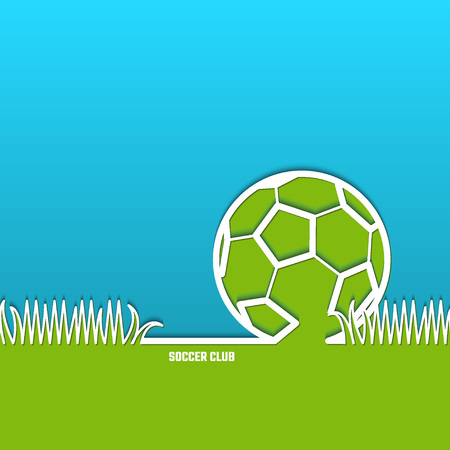 footie: Illustration of Soccer Outline Backdrop with Stadium Grass for Design