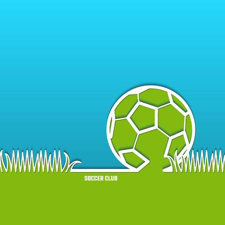 sports balls: Illustration of Soccer Outline Backdrop with Stadium Grass for Design