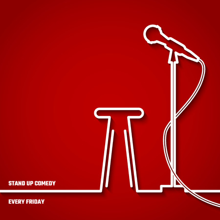 microfono antiguo: Ilustración de stand up comedy en Night Club de Diseño Vectores
