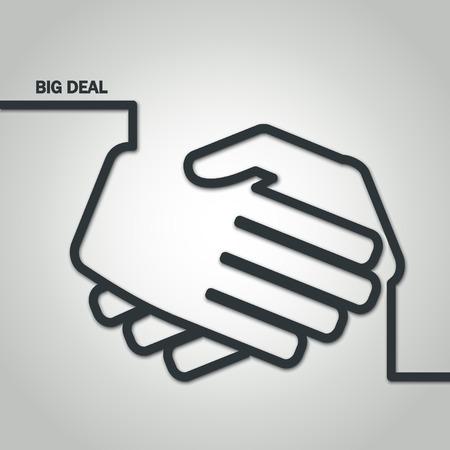 Illustration of Outline Handshake on Meeting for Design Illustration