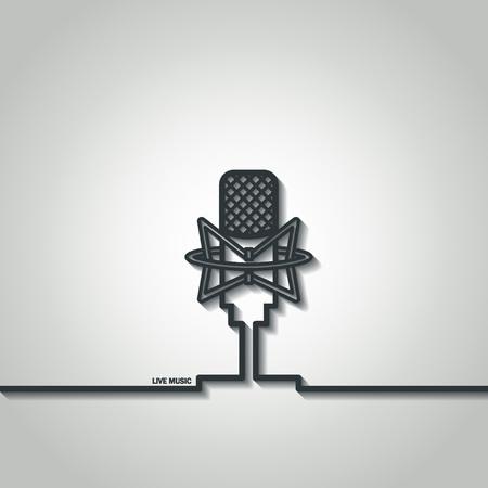 Illustration of Retro Outline Microphone for Design Illustration