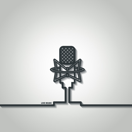 Illustration of Retro Outline Microphone for Design Illustration