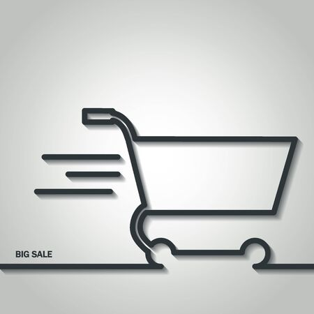 web store: Illustration of Shopping Cart Icon Outline for Design