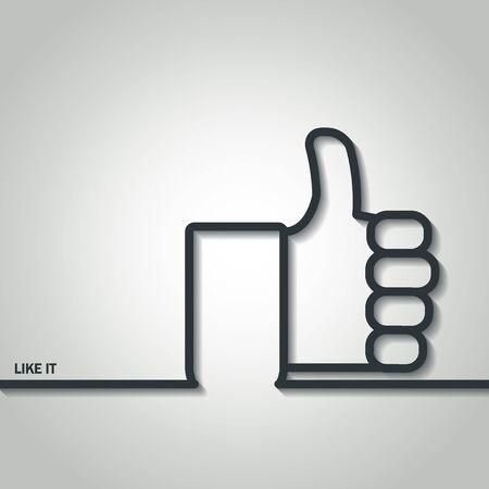 tumb: Illustration of Thumb Up Outline for Design Stock Photo