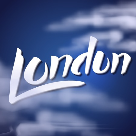 foggy: Vector Illustration of Travel London Lettering for Design, Website, Background, Banner. England Toursm logo Template with cloud on foggy albion