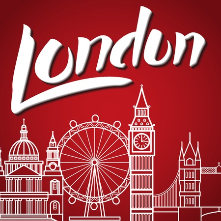 tourism: Vector Illustration of Travel London Lettering for Design, Website, Background, Banner. England Toursm logo Template witn Big Ben and Landmark