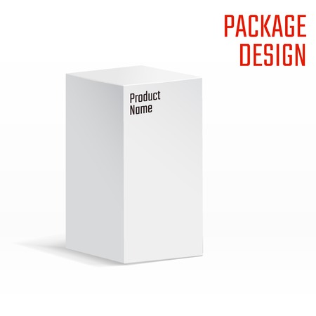product box: Vector Illustration of White Product Cardboard Package Box for Design, Website, Banner. Mockup Element Template for Your Brand or Product. Isolated on White Background