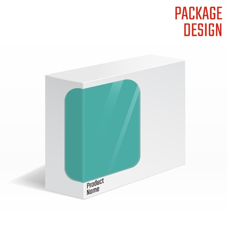 product box: Vector Illustration of White Product Cardboard Package Box With lear Windiws for Design, Website, Banner. Mockup Element Template for Your Brand or Product. Isolated on White Background