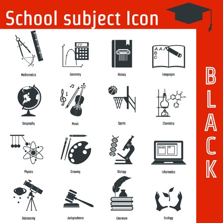 subject: Vector Illustration of Black School Subject Icon for Design, Website, Background, Banner. Infographic Learning Element for Notebook Template. Study and Science