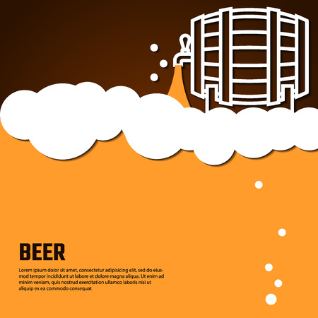 Vector Illustration Of Beer by Line for Design, Website, Background Banner. Restaurant, Cafe Menu Template on Orange. Prepare Beverage Infographic. Bar Symbol