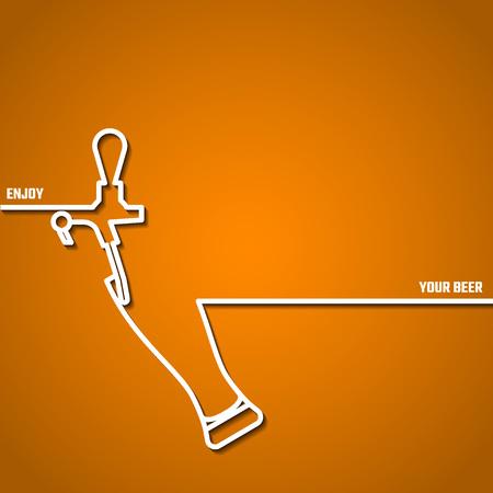 Vector Illustration Of Beer by Line for Design, Website, Background Banner. Restaurant, Cafe Menu Template on Orange. Prepare Beverage Infographic. Bar Symbol