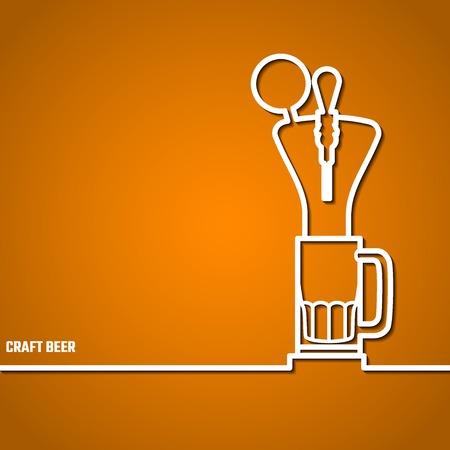 prepare: Vector Illustration Of Beer by Line for Design, Website, Background Banner. Restaurant, Cafe Menu Template on Orange. Prepare Beverage Infographic. Bar Symbol