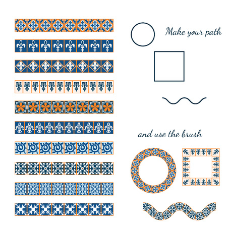 Vector Illustration of Moroccan tiles Brushes for Design, Website, Background, Banner. Element for make your frame or border. Middle Ages Ornament Texture Template