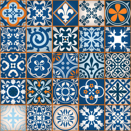 vintage wallpaper: Vector Illustration of Moroccan tiles Seamless Pattern for Design, Website, Background, Banner. Element for Wallpaper or Textile. Middle Ages Ornament Texture Template