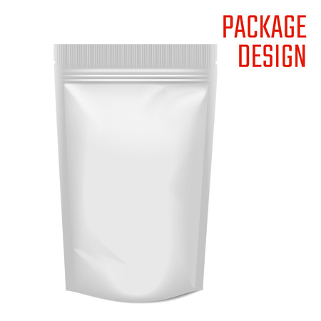 Vector Illustration of Realistic Package Bag with zipper isolated on white for Design, Website, Background, Banner. Mock up Template for your Brand presentation