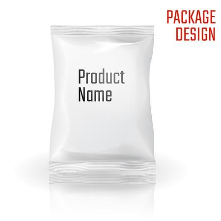 botanas: Ilustración del vector de la merienda paquete bolsa de diseño, Web site, fondo, bandera. Paquete Element. Maqueta Modelo para su marca o producto Vectores