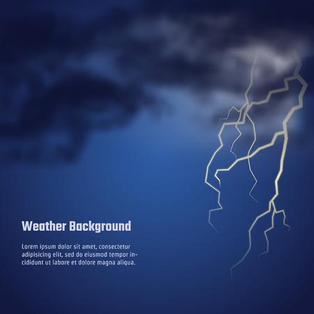 meteo: Illustrazione vettoriale di tempesta meteo per il Design, Website, sfondo, banner. Realistico modello nuvola di notte con il flash