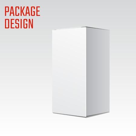 디자인, 웹 사이트, 배너 흰색 제품 골판지 포장 상자의 벡터 일러스트 레이 션. 귀하의 브랜드 또는 제품에 대한 모형 요소 템플릿입니다. 흰색 배경에 일러스트