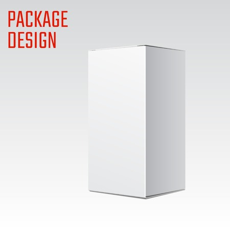 Illustrazione vettoriale di bianco pacchetto di prodotti di cartone per design, sito Web, banner. Modello di elemento mockup per il tuo marchio o prodotto. Isolato su sfondo bianco Archivio Fotografico - 45125954