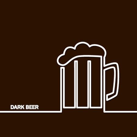 prepare: Vector Illustration Of Dark Beer by Line for Design, Website, Background Banner. Restaurant, Cafe Menu Template on Orange. Prepare Beverage Infographic. Bar Symbol