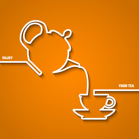 Vector Illustration of Tea Time Outline for Design, Website, Background, Banner. Pot and Cup silhouette Element Template for Infographic or Restaurant Menu