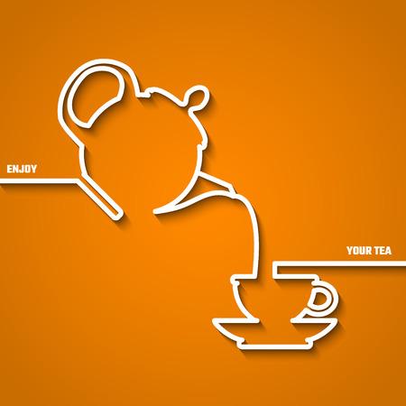 Vector Illustratie van Tea Time Outline voor Design, Website, achtergrond, Banner. Pot en Cup silhouet Element Template voor Infographic of Restaurant Menu