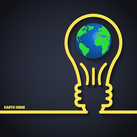 dia y noche: Ilustración del vector de la Hora del Planeta de diseño, Web site, fondo, bandera. Eco Energía Guardar plantilla Elemento Concepto con el mapa y la lámpara en el estilo de esquema