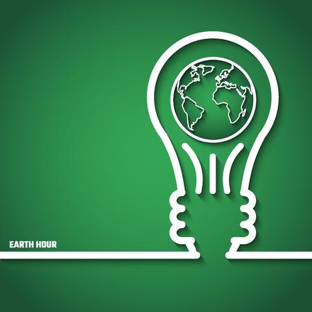 dia y la noche: Ilustración del vector de la Hora del Planeta de diseño, Web site, fondo, bandera. Eco Energía Guardar plantilla Elemento Concepto con el mapa y la lámpara en el estilo de esquema