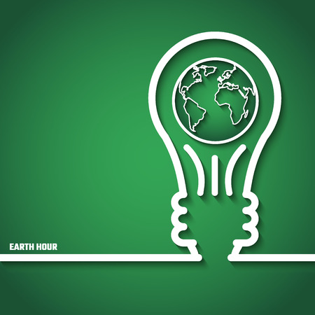 eco power: Vector Illustration of Earth Hour for Design, Website, Background, Banner. Eco Energy Save Concept Element Template with Map and Lamp in Outline Style