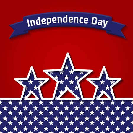 holyday: Vector Illustration of Independence Day for Design, Website, Background, Banner. American Holyday Infographic Element Template. Flag and other symbols in Blue and Red