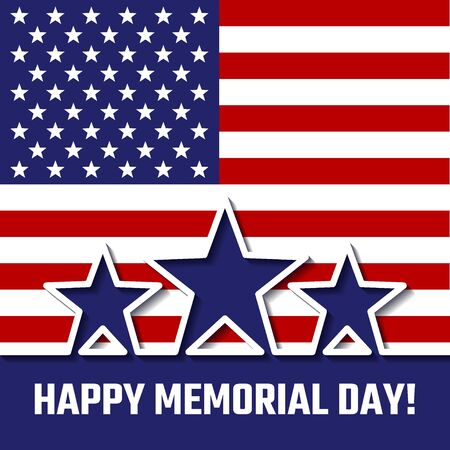 26th: Vector Illustration of memorial day for Design, Website, Background, Banner. America Holiday 26th of May Element Template with Star and Flag Illustration