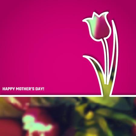 tulipan: Ilustracja wektora Szczęśliwy dzień matki dla projektu, strona internetowa, tło, transparent. 22. Mays Holyday Prezent Element Szablon z różowy tulipan