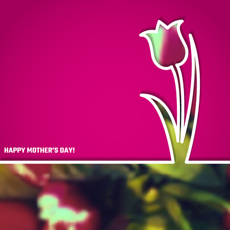 red tulip: Vector Illustration of Happy Mothers Day Card for Design, Website, Background, Banner. 22th Mays Holyday Gift Element Template with Pink Tulip
