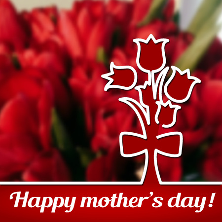 red tulip: Vector Illustration of Happy Mothers Day Card for Design, Website, Background, Banner. 22th Mays Holyday Gift Element Template with Red Tulip