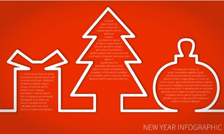 christmas concept: Flat Vector Illustration Happy New Year Infographic Concept with gifts Balls Santa Card for Design, Website, Background Banner. Merry Christmas Cartoon Funny Template for yuor text