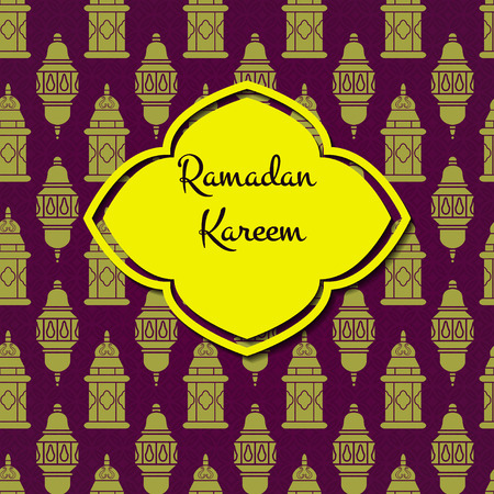 lamp outline: Vector Illustration of Ramadan Kareem Outline for Design, Website, Background, Banner. Arabic Lamp Element Template. Yellow and Violet Greeting