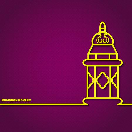 lamp outline: Vector Illustration of Ramadan Kareem Outline for Design, Website, Background, Banner. Arabic Lamp Element Template. Yellow and Violet