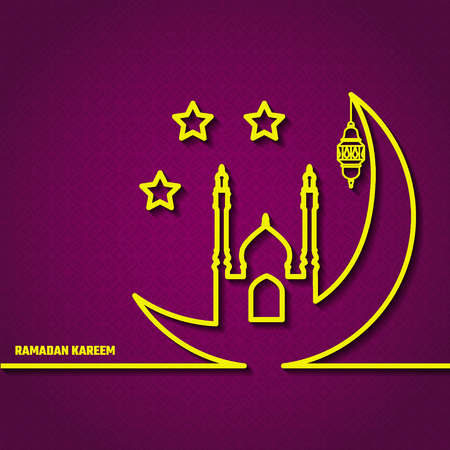 Vector Illustration of Ramadan Kareem Outline for Design, Website, Background, Banner. Arabic Lamp Element Template. Yellow and Violet