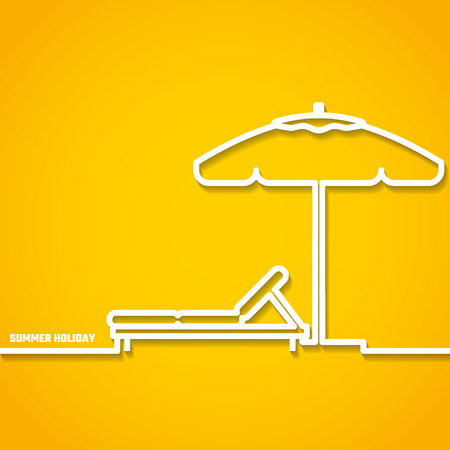 daybed: Vector Illustration of outline Summer Holyday Concept for Design, Website, Background, Banner. Silhouette Vacation  Element Template on Yellow Beach Resort Illustration