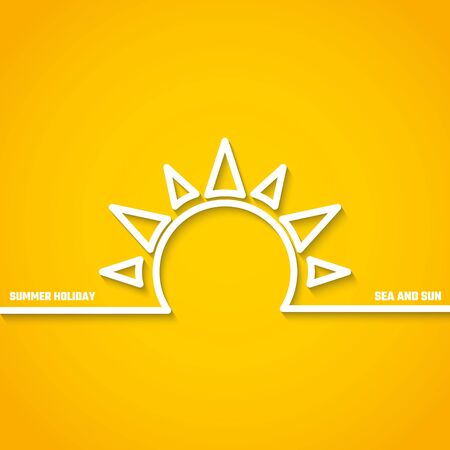 holyday: Vector Illustration of outline Summer Holyday Concept for Design, Website, Background, Banner. Silhouette Vacation  Element Template on Yellow Beach Resort Illustration