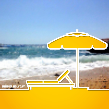 daybed: Vector Illustration of outline Summer Holiday Paradise Concept for Design, Website, Background, Banner. Silhouette Vacation  Element Template on Yellow Beach Resort Illustration