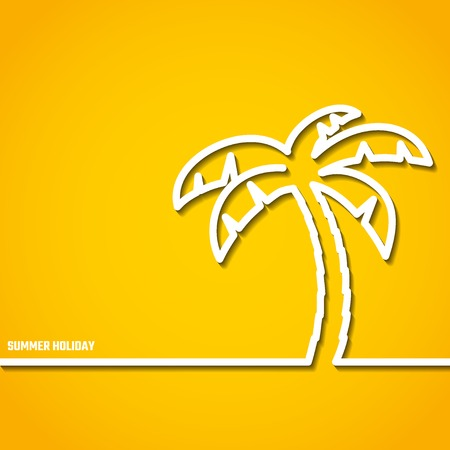 resort beach: Vector Illustration of outline Summer Holiday Paradise Concept for Design, Website, Background, Banner. Palm Tree Coconut Silhouette Vacation  Element Template on Yellow Beach Resort