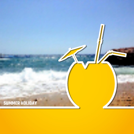 beach sea: Vector Illustration of outline Summer Holiday Paradise Concept for Design, Website, Background, Banner. Coconut Cocktail Silhouette Vacation  Element Template on Yellow Beach Resort