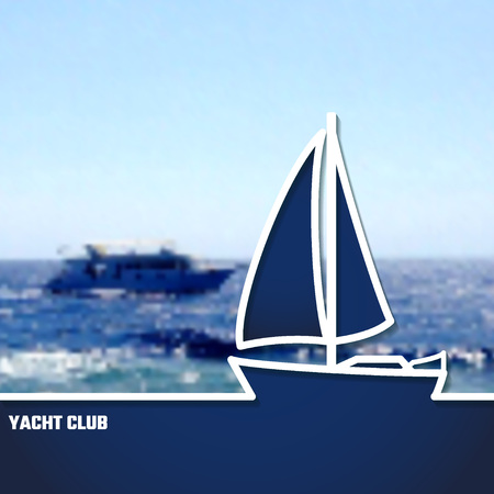 yacht: Vector Illustration of Yacht Club Outline for Design, Website, Background, Banner. Sea and Ocean Travel Element. Sport and Holiday Template