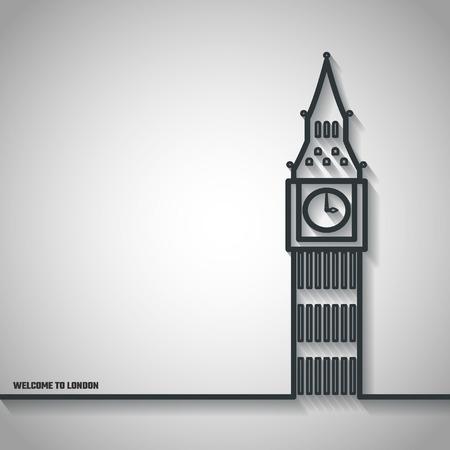 houses of parliament london: Vector Illustration of Big Ben Icon Outline for Design, Website, Background, Banner. Travel Britain Landmark Element Template for Tourism Flyer