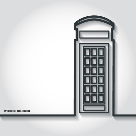 phonebooth: Vector Illustration of phone booth Icon Outline for Design, Website, Background, Banner. Travel Britain Landmark Element Template for Tourism Flyer Illustration