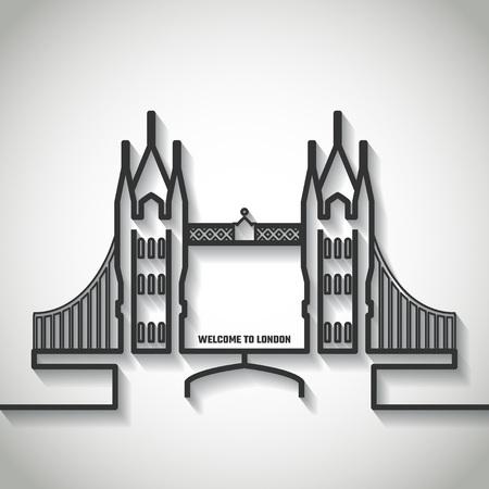 tower bridge: Vector Illustration of Tower bridge Icon Outline for Design, Website, Background, Banner. Travel Britain Landmark Element Template for Tourism Flyer