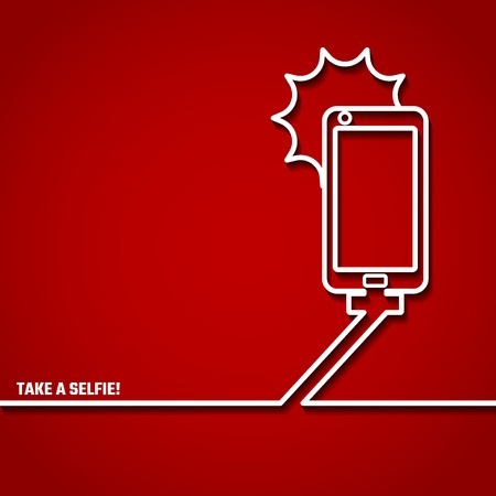 inforgaphic: Vector Illustration of Take a Selfie Concept in Outline for Design, Website, Background, Banner. Modern Photo and Phone silhouette Element for Inforgaphic Template. monopod Icon