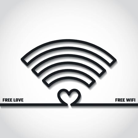 free place: Vector Illustration of Wifi Free Concept Outline   for Design, Website, Background, Banner. Silhouette Internet Zone Element Template for Your Network Place