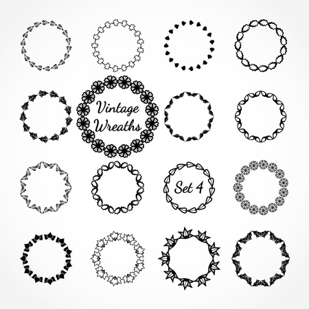 vintage element: Vector Illustration of Retro Wreasthes for Design, Website, Background Banner. Vintage Element Template for  Label or Emblem. Black and White Illustration